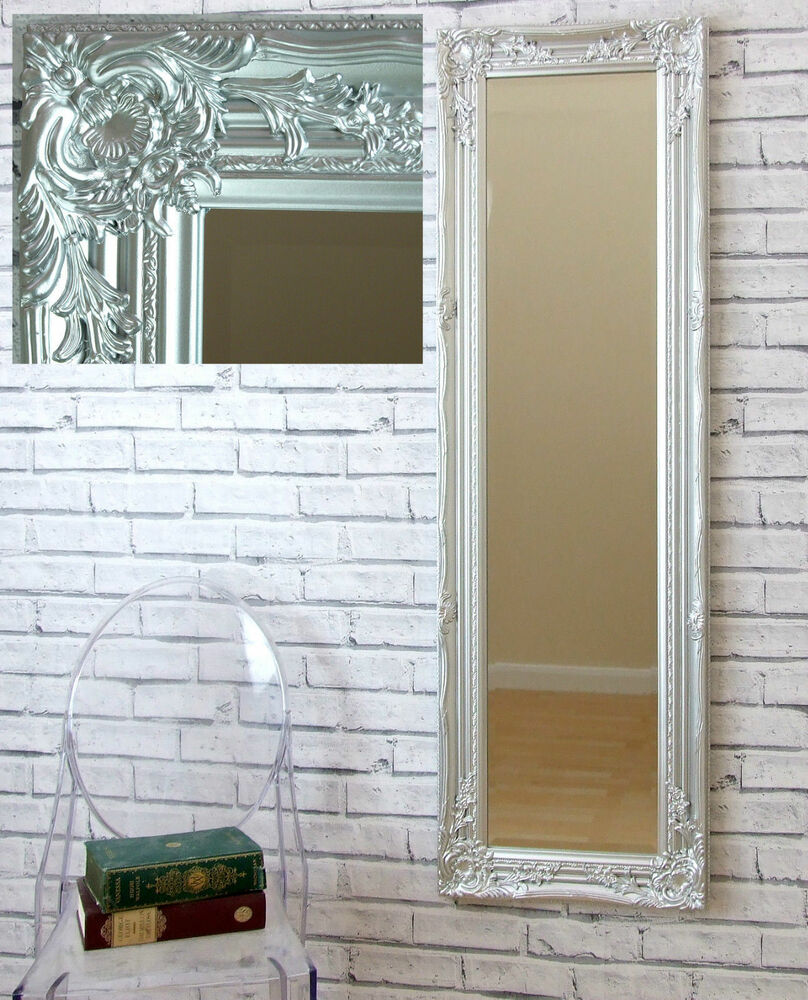 portland shabby chic large full length hall bedroom wall mirror silver 16 x 51 ebay. Black Bedroom Furniture Sets. Home Design Ideas