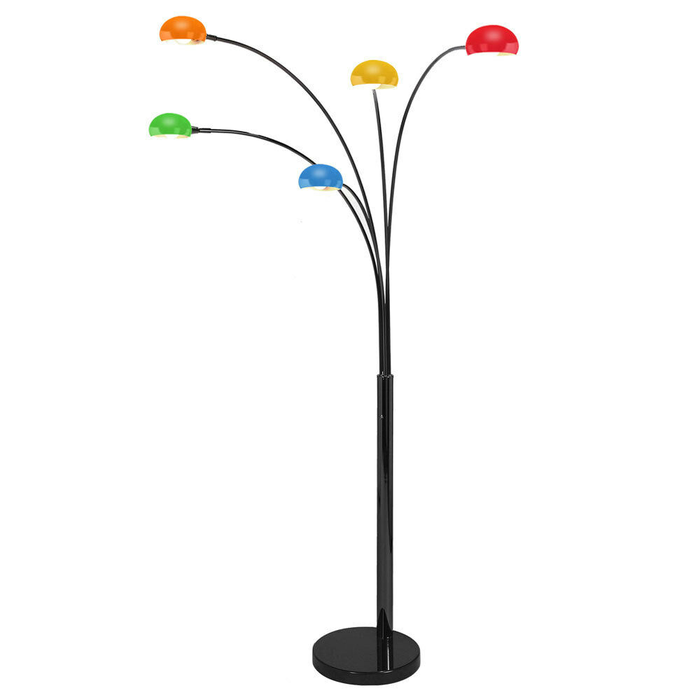 Modern Black Designer Retro Arco Five Way Arc Floor Lamp