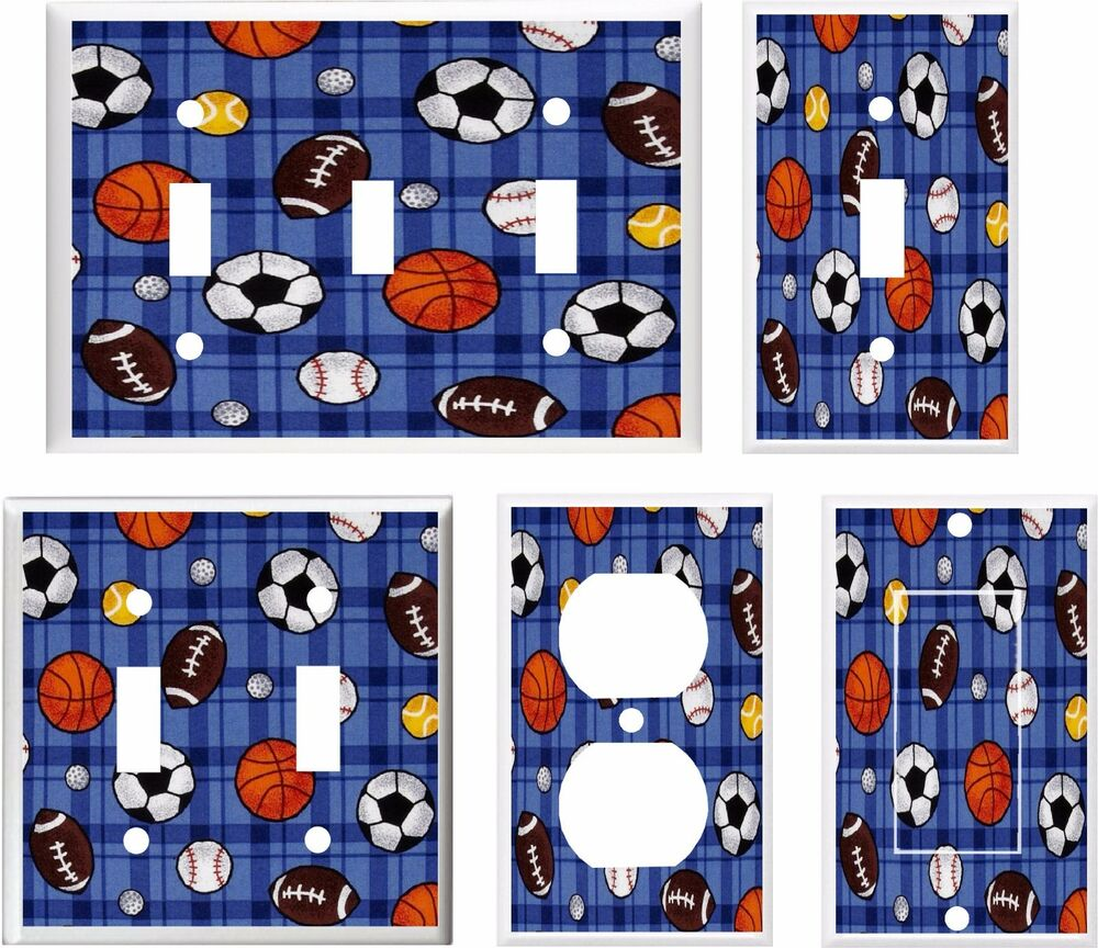 All Sports Football Baseball Scoccer Light Switch Cover