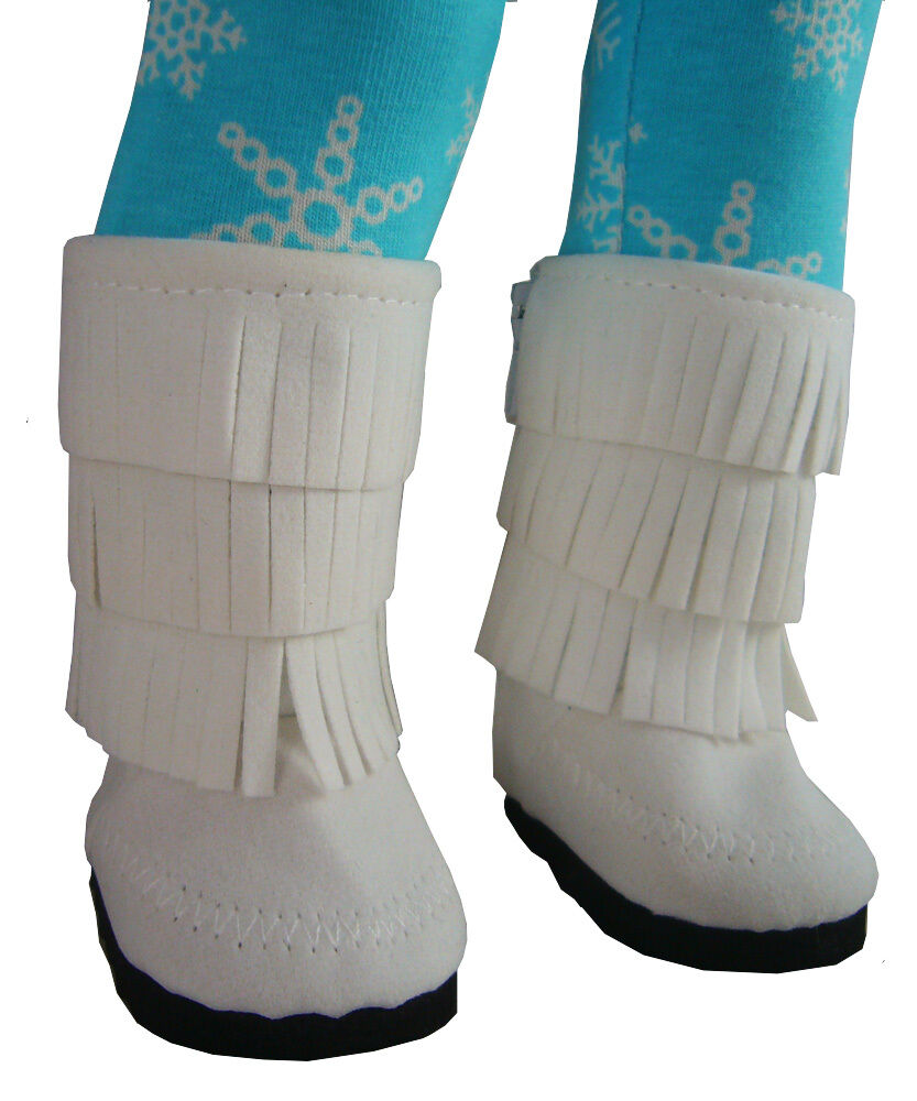white moccasin boots w fringe shoes for 18 quot american