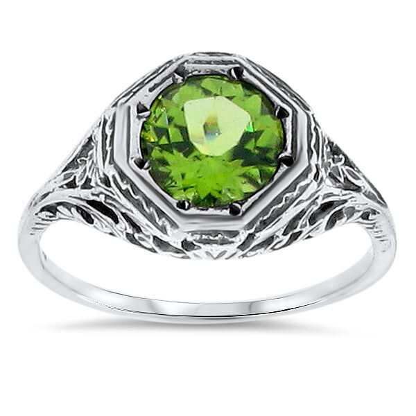 genuine peridot antique design 925 solid sterling silver