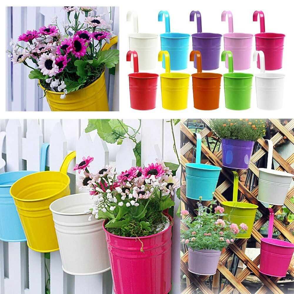 metal iron flower pot hanging balcony garden plant planter. Black Bedroom Furniture Sets. Home Design Ideas