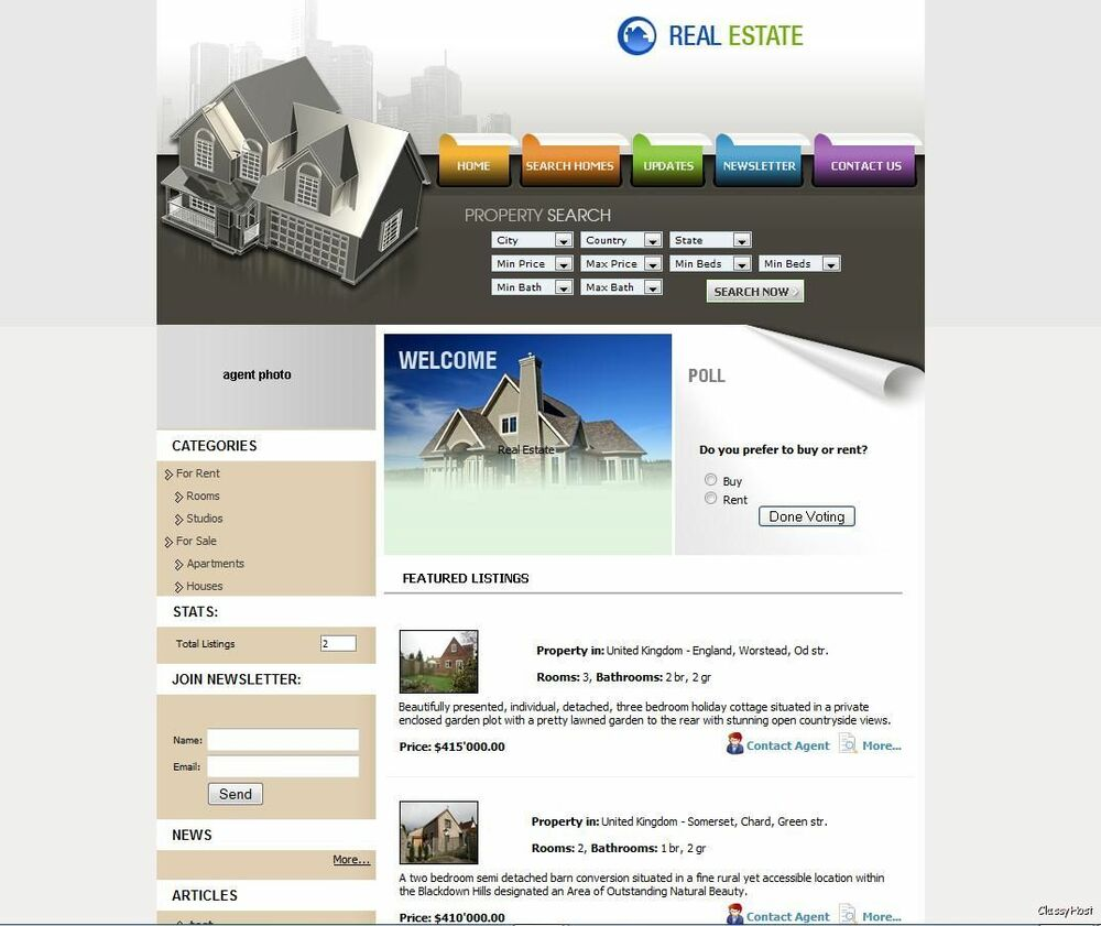Property Listings Website Realtor Business For Sale