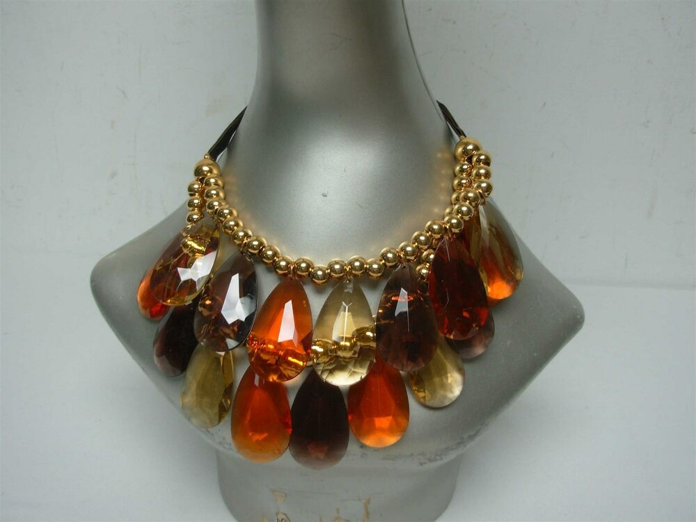 Joan rivers amber double strand bib dangle faceted for Joan rivers jewelry necklaces