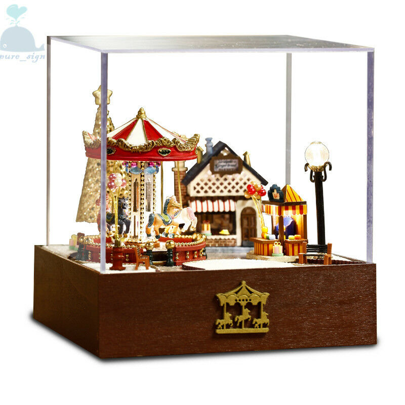 diy handcraft miniature project wooden dolls house merry go round carousel ebay. Black Bedroom Furniture Sets. Home Design Ideas