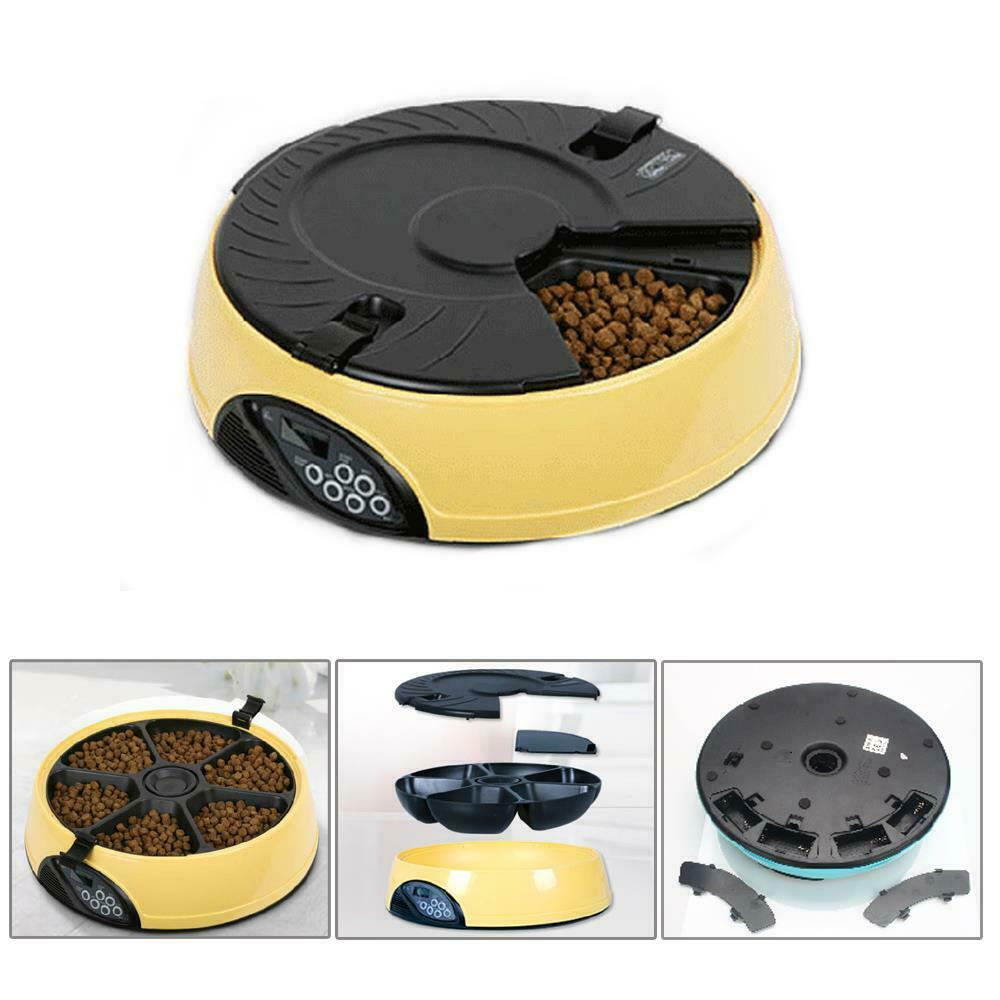 6 Meal Automatic Pet Feeder Auto Dog Cat Food Bowl