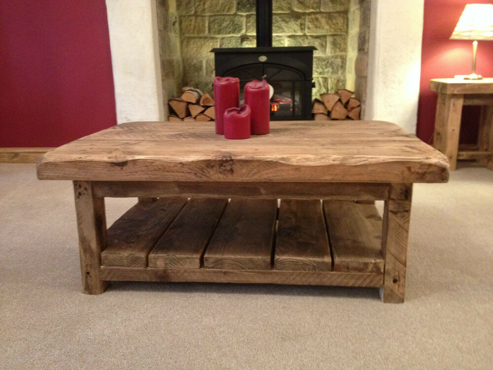 bespoke handmade rustic farmhouse style wooden coffee table ebay. Black Bedroom Furniture Sets. Home Design Ideas