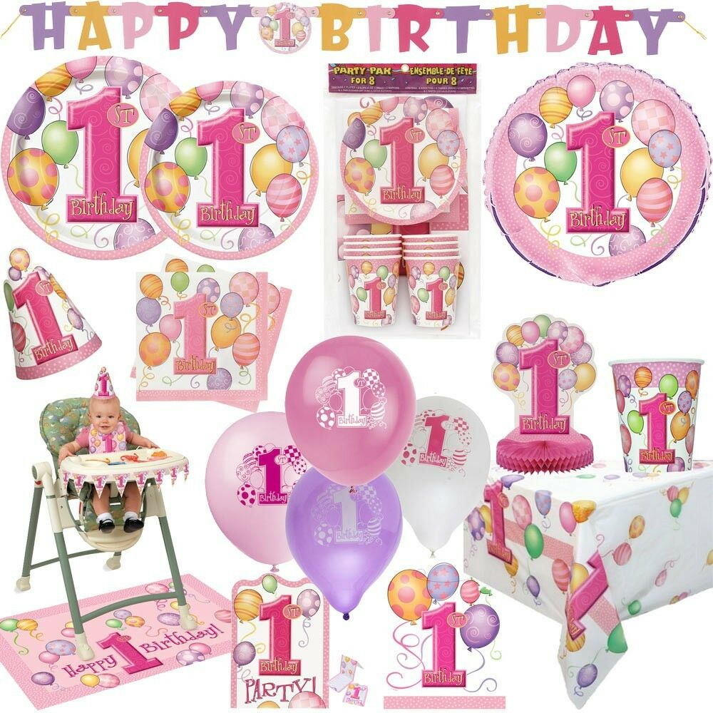 1 geburtstag m dchen ballons baby kindergeburtstag dekoration party deko set ebay. Black Bedroom Furniture Sets. Home Design Ideas