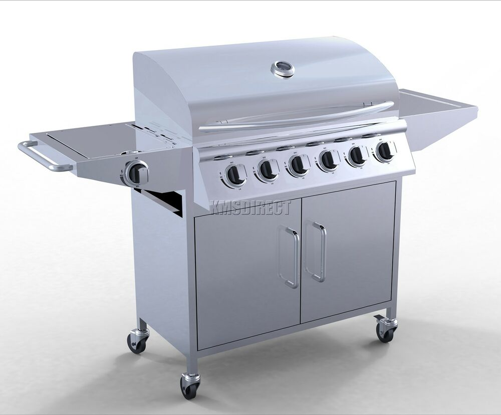 foxhunter 6 burner bbq gas grill stainless steel barbecue. Black Bedroom Furniture Sets. Home Design Ideas