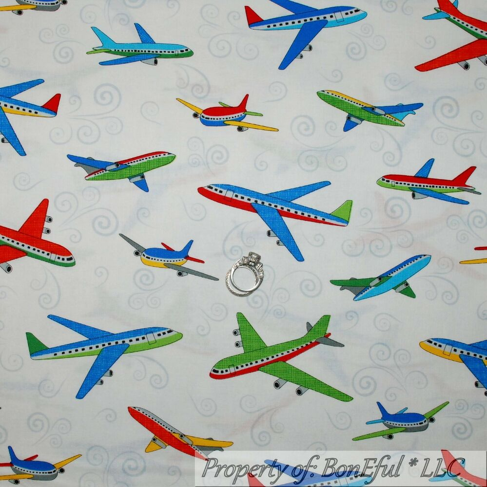 Boneful fabric fq cotton quilt white red blue american for Airplane print cotton fabric