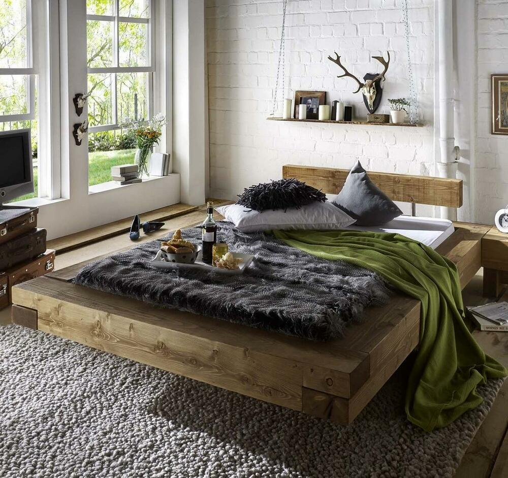 doppelbett balken schwebebett bett 160x200 kiefer massiv holz antik rustikal ebay. Black Bedroom Furniture Sets. Home Design Ideas
