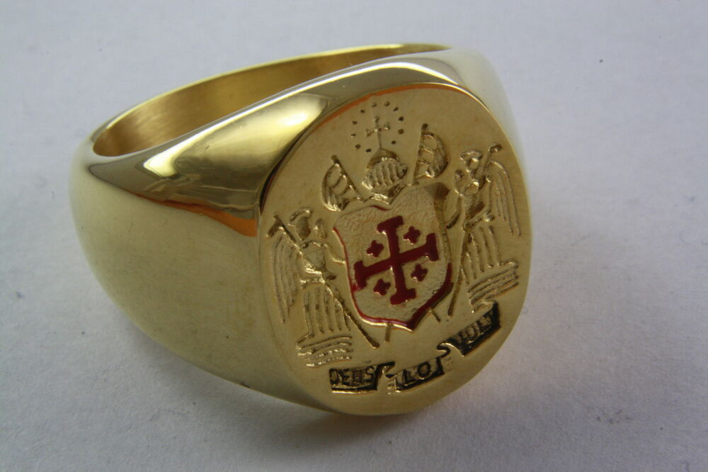 JERUSALEM CROSS RING STAINLESS STEEL GOLD PLATED CREST SEAL 202
