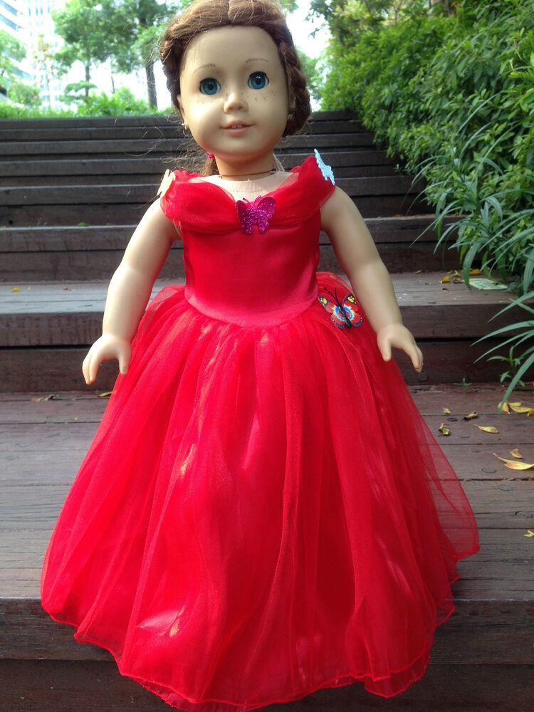 Cinderella ball wedding party red dress fits american girl for American girl wedding dress