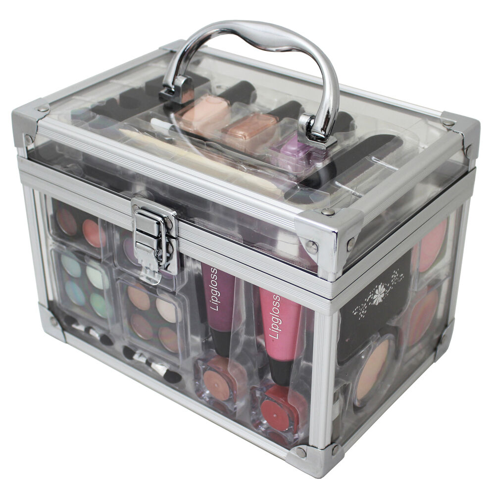 vanity case make up cosmetic set case travel organizer professional 42 piece ebay. Black Bedroom Furniture Sets. Home Design Ideas