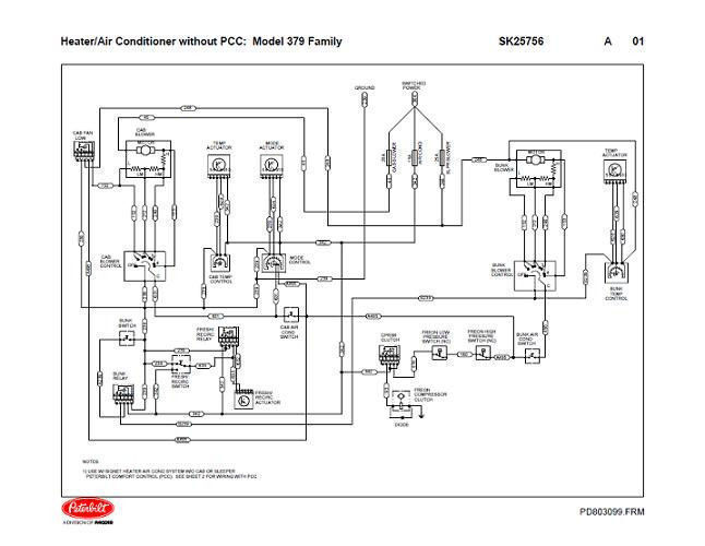 Peterbilt 379 Family Hvac Wiring Diagrams  With  U0026 Without Pcc  04  2004  U0026 Down