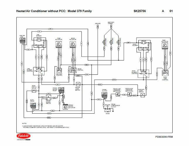 peterbilt 379 family hvac wiring diagrams with without pcc 04 2004 ebay