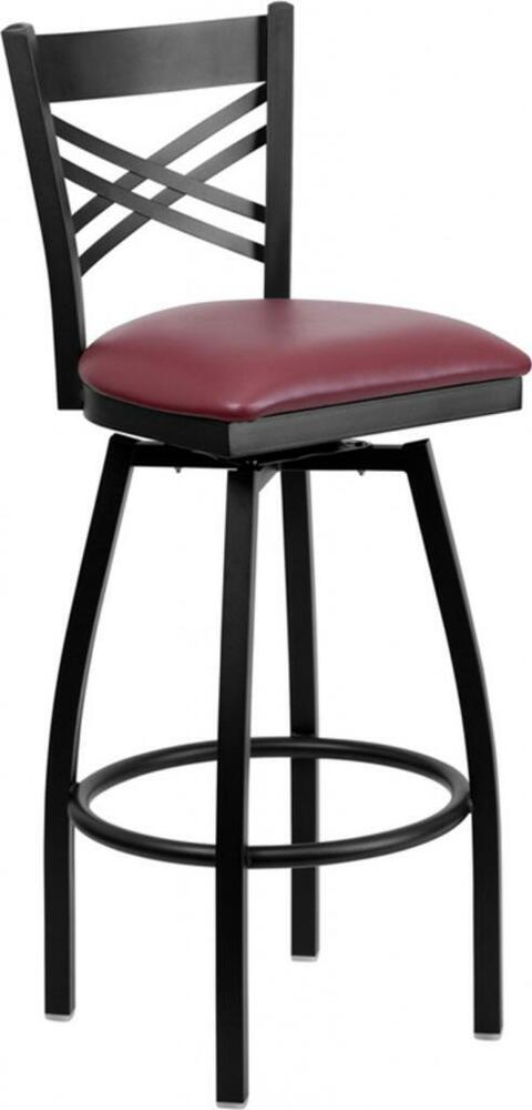 Hercules Series Black X Back Swivel Metal Bar Stool
