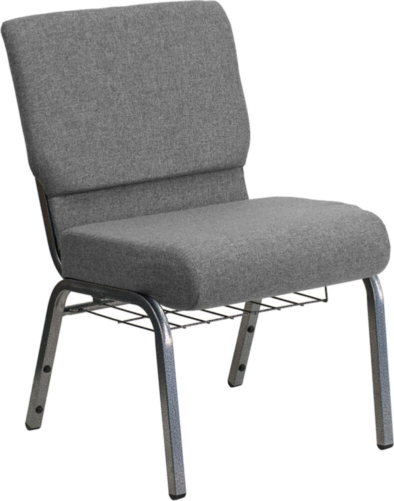 Hercules series 21 extra wide gray church chair w 3 75 thick seat