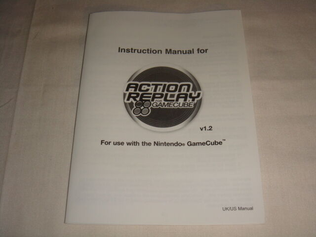 Manual Only For Action Replay V 12 For Nintendo Gamecube Game Cube