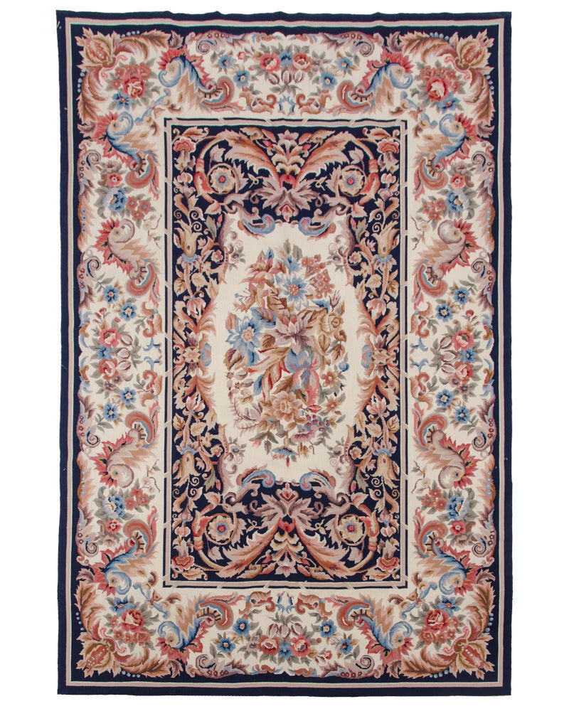 Rra 6x9 Fine Needlepoint Rug Medallion Design Dark Blue