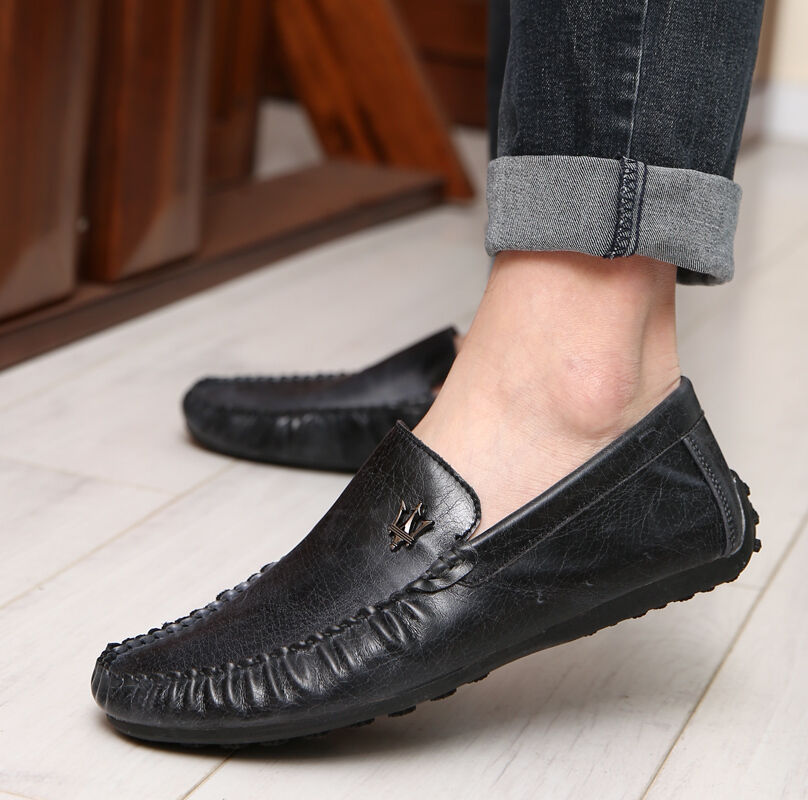 black leather s loafer no slip casual driving moccasin