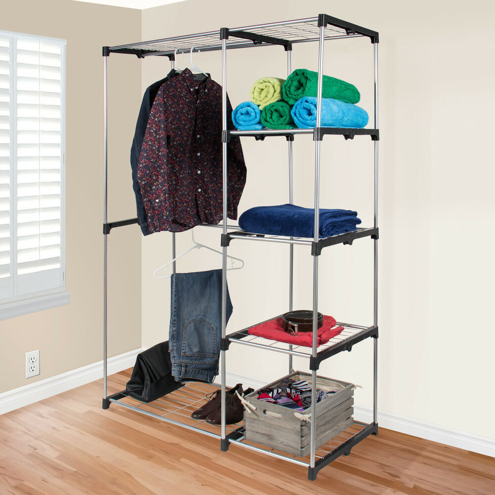 closet organizer storage rack portable clothes hanger home garment shelf rod ebay. Black Bedroom Furniture Sets. Home Design Ideas