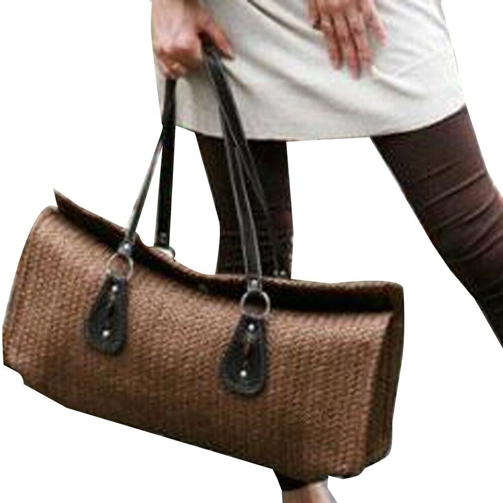Women New Fashion Straw Weave Shoulder Bags Handbag Barrel ...