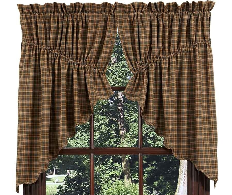 """Country Primitive Farmhouse Rustic Quilts Curtains Rugs: Country Primitive Barrington Prairie Swag 36"""" Rustic Lodge"""