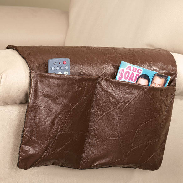 Brown leather couch armrest sofa caddy 2 pocket remote for Sofa organizer