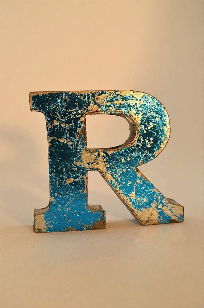 fantastic retro vintage style blue 3d metal shop sign letter r advertising font ebay. Black Bedroom Furniture Sets. Home Design Ideas