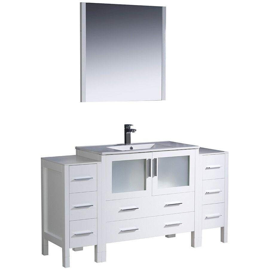 side cabinet bathroom fresca torino 60 quot white modern bathroom vanity w 2 side 26115