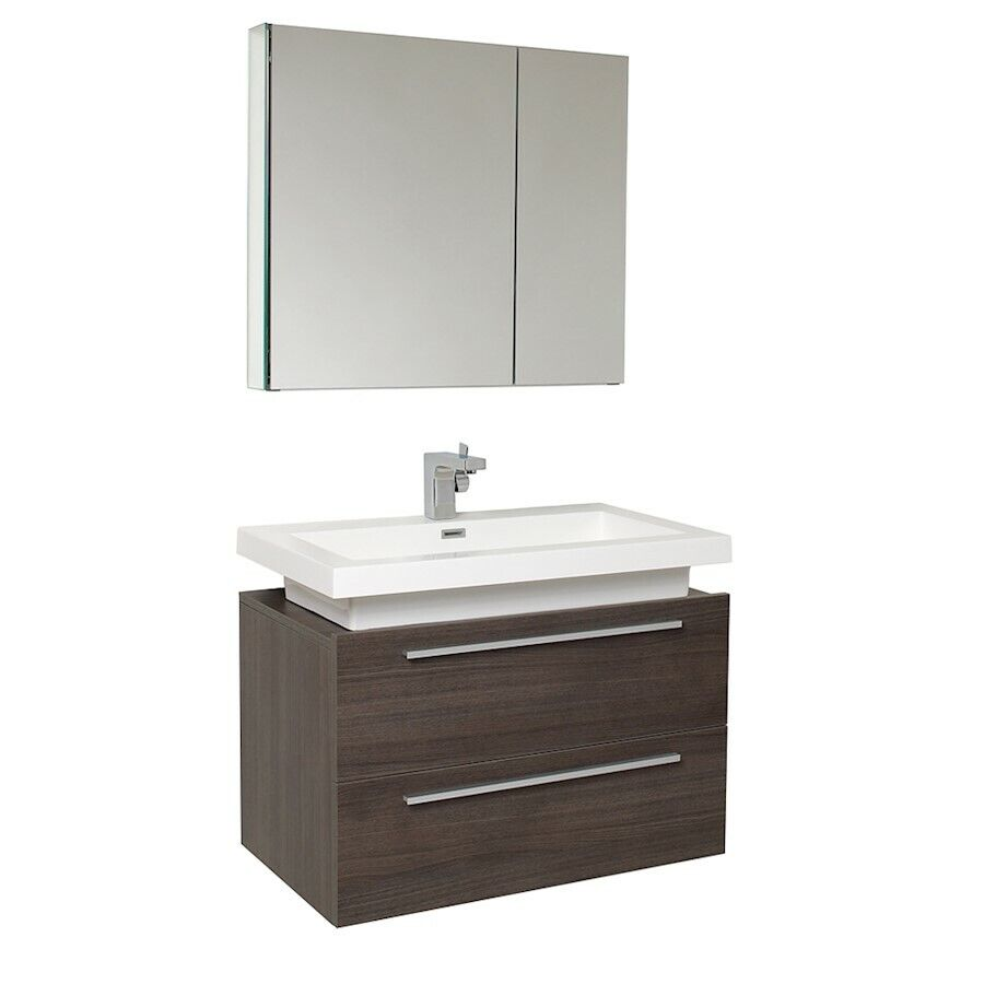 Fresca medio gray oak modern bathroom vanity w medicine for Grey bathroom cupboard