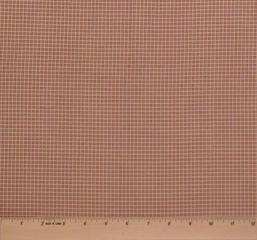 Brown tan check fabric by the yard for quilting doll for Gingham fabric