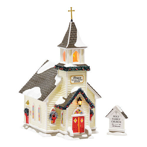 department 56 snow village new 2015 holy family church set. Black Bedroom Furniture Sets. Home Design Ideas