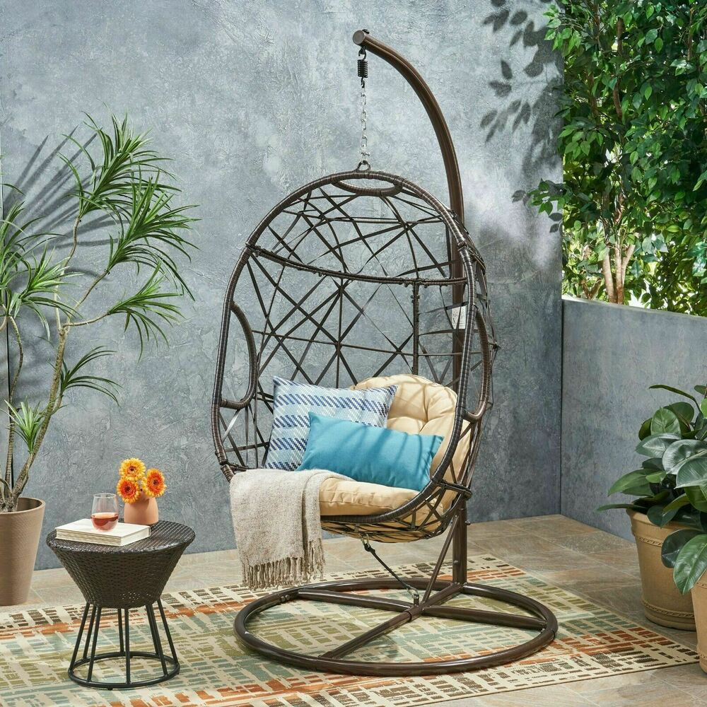 Outdoor Patio Furniture Modern Design Swinging Egg Wicker Chair EBay