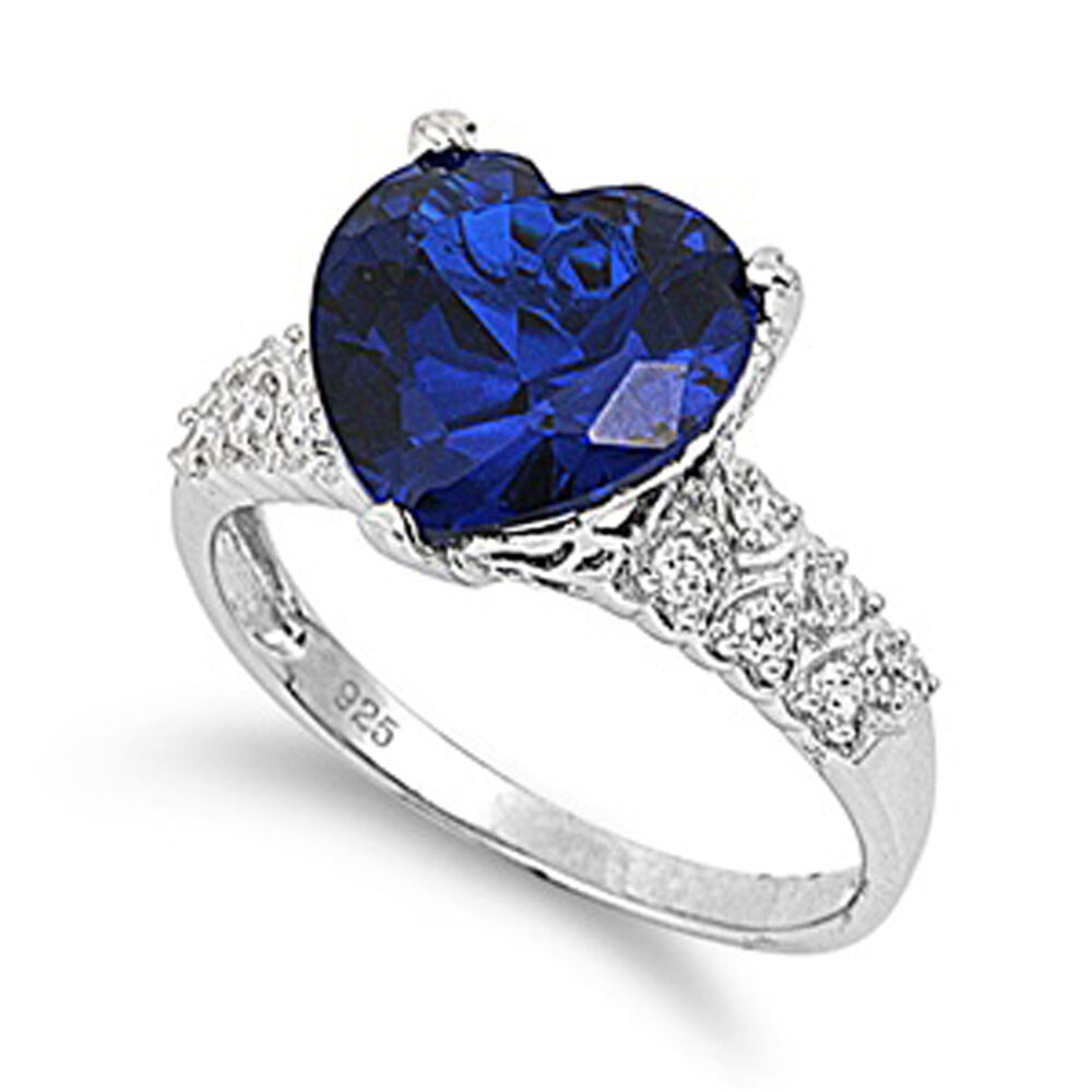 Sterling Silver Woman s Blue Sapphire CZ Ring Promise 925 Band 12mm Sizes