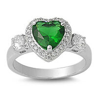 Sterling Silver Woman's Emerald CZ Heart Ring Fashion 925 Band 12mm Sizes 6-10