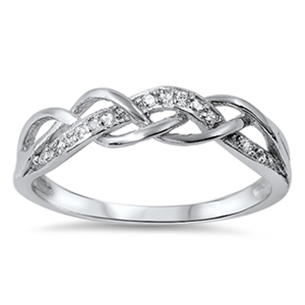 infinity knot white cz promise ring new 925 sterling