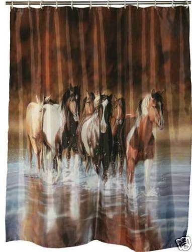horse shower curtain western horses bath art riversedge ebay shower hose for bath taps shop it now online lionshome