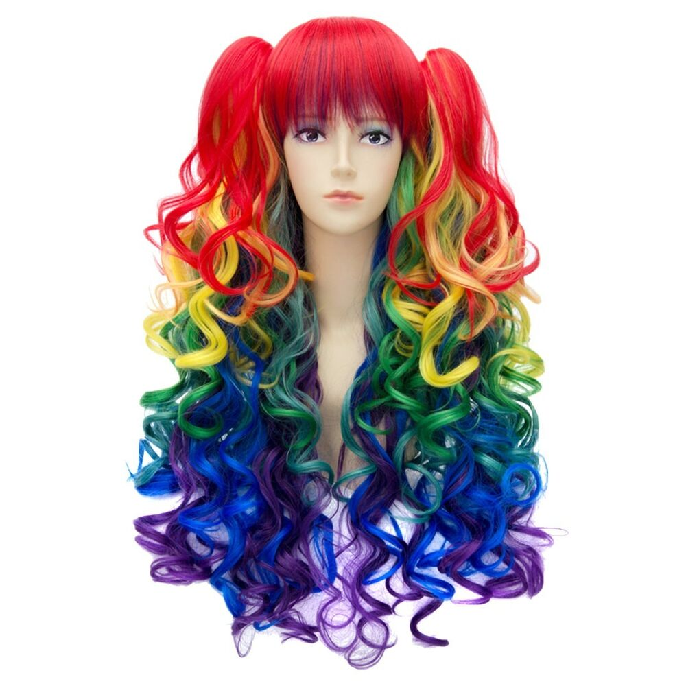 Women Long Rainbow Color Gradient Curly Bangs Double