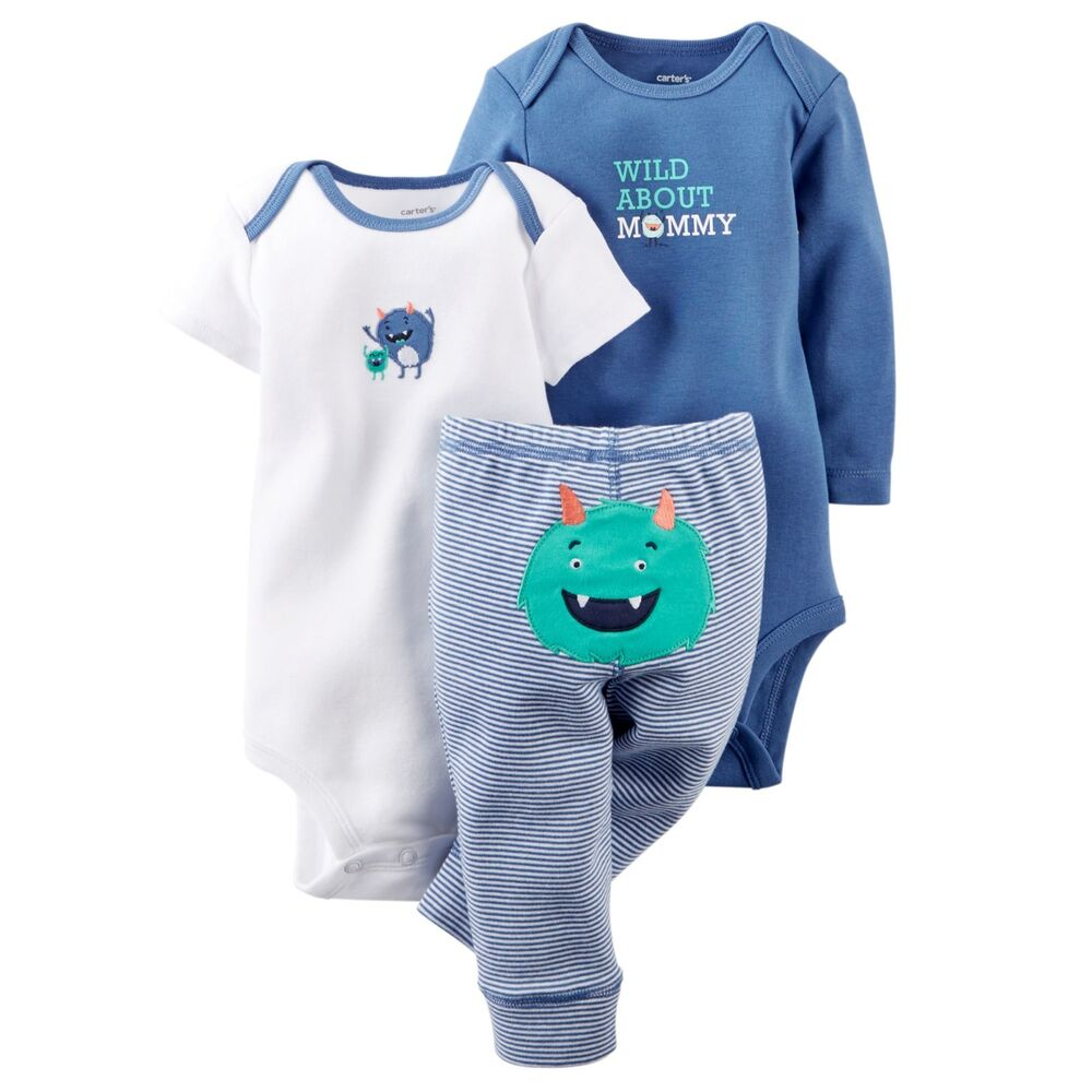 Carters Newborn 3 6 9 12 18 24 Months Monster Bodysuit Set ...