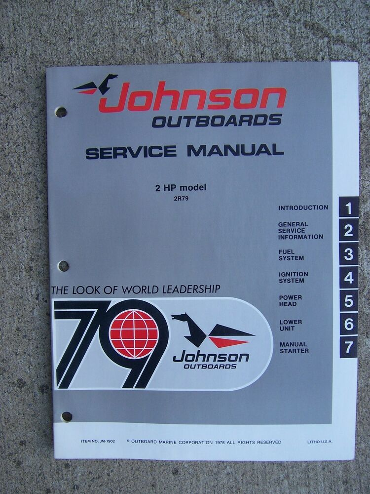 1979 Johnson Outboard Motor 2 Hp Model 2r79 Service Manual