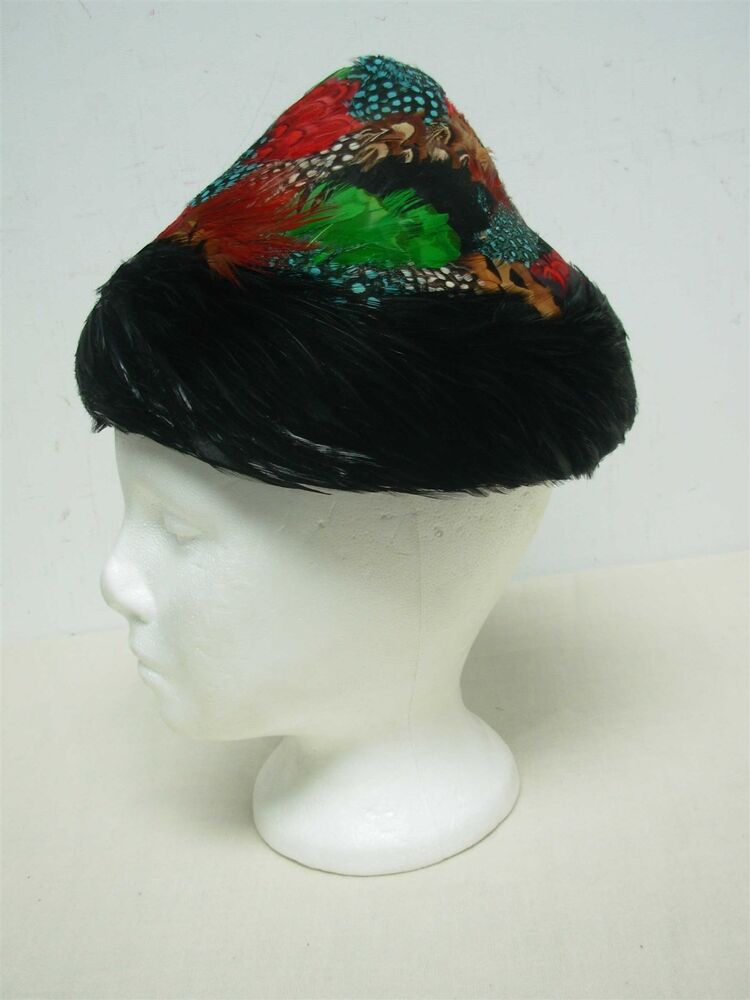 Vintage 1940s Ladies Multi Color Feather Hat With Black