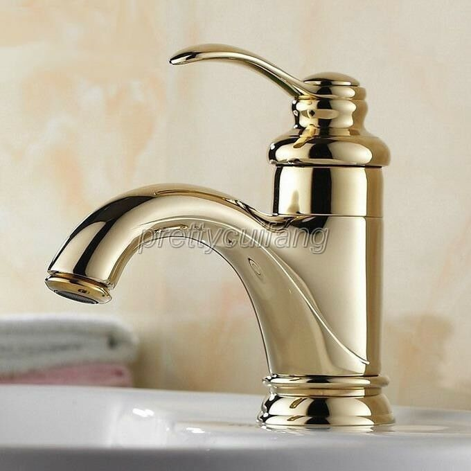 Polished gold brass single handle bathroom vessel sink faucet mixer tap pnf230 ebay for Polished gold bathroom faucets