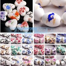 (92 Styles) 10pcs Flower Patterns Ceramic Porcelain Charms Loose Spacer Beads