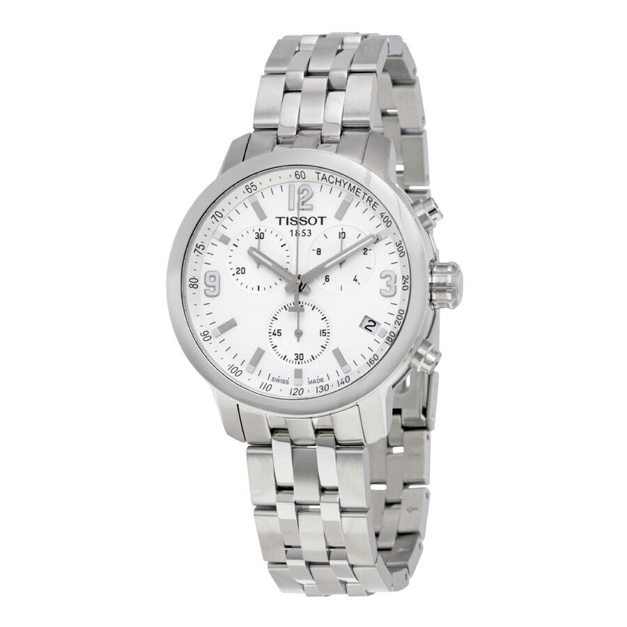 tissot prc200 chronograph white stainless steel mens