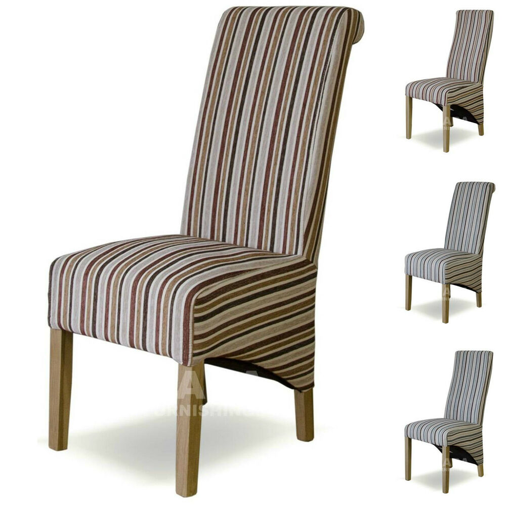 Fabric striped dining chairs solid oak high quality dining for Fabric dining room chairs