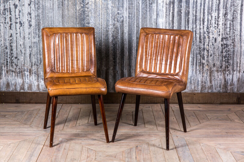 Vintage Retro Style Tan Leather Dining Kitchen Restaurant Chairs The Epsom Ebay