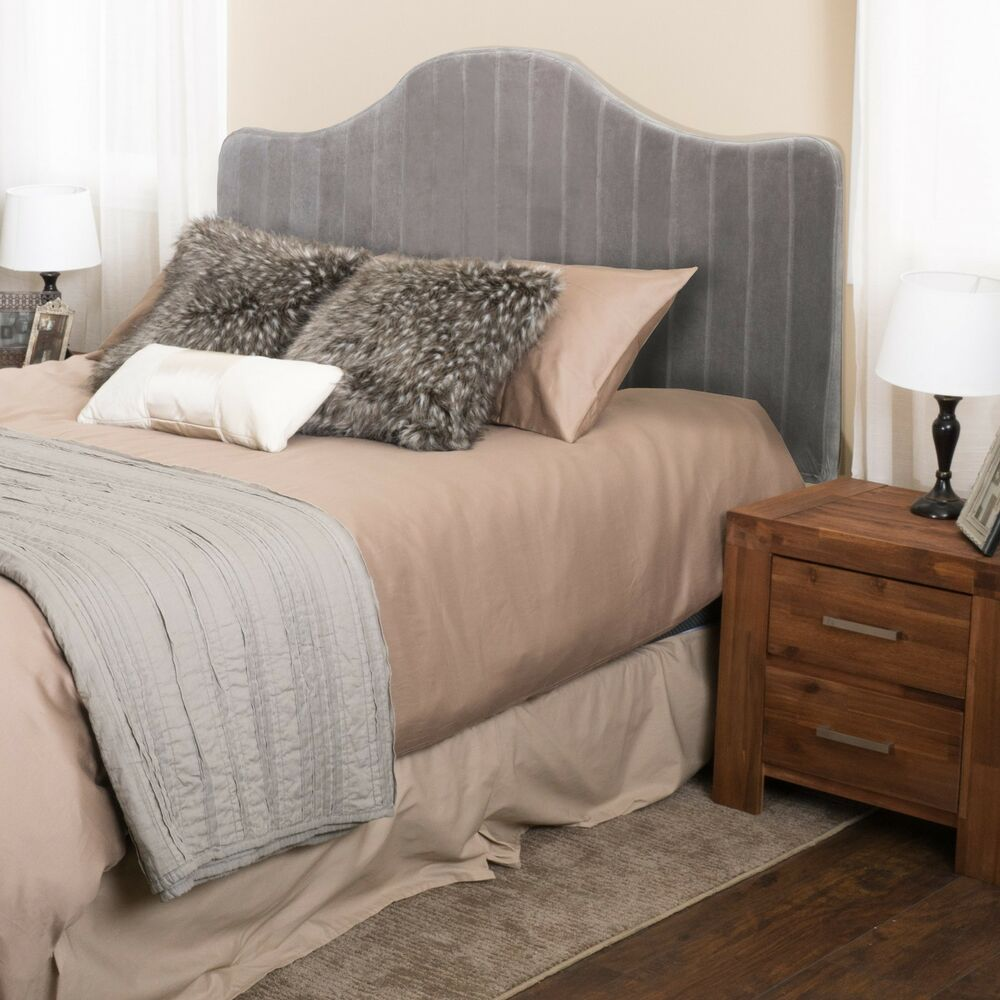 King to cal king crown top adjustable grey stripe fabric California king headboard