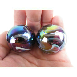 Kyпить 2 BOULDERS 35mm  MILKY WAY Marbles glass ball oil slick LARGE HUGE Swirl на еВаy.соm